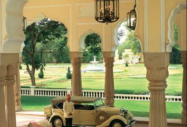 Vintage car at Rambagh Palace entrance