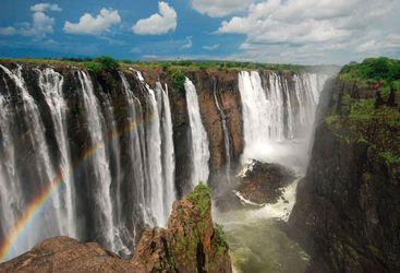 Victoria Falls and rainbow