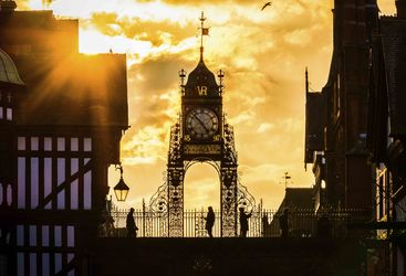 A picture of Eastgate clock in the sunset