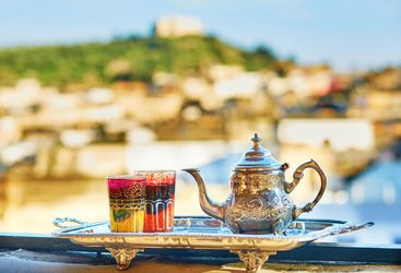 Moroccan teapot with a view