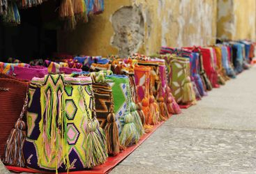 Colourful bags on the street in Cartagena