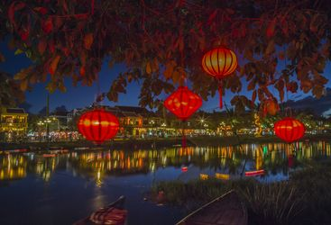 Lanterns on the river at night in Hoi An