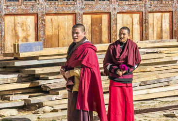 Monks outside their temple