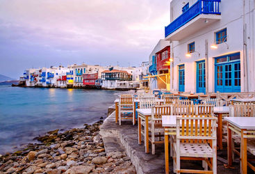 Colourful seafront town in Mykonos
