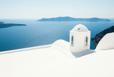White buildings overlooking the sea in Greece