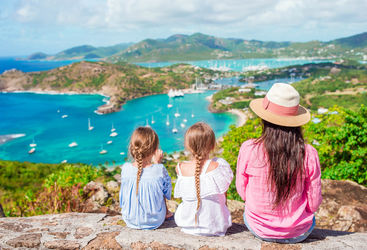 Family watching boats in Antigua