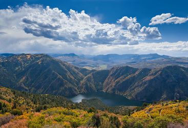 Scenic lake at autumn in Colorado