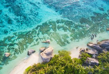 Aerial of Seychelles beach