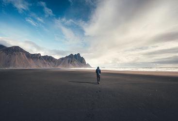 Man on Iceland beach