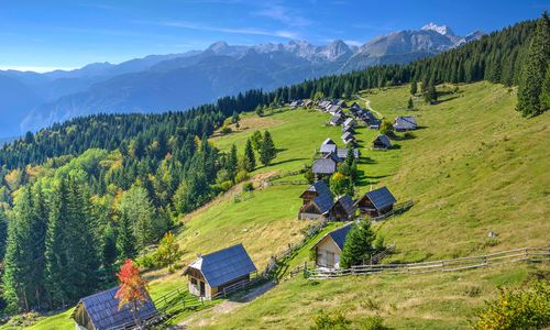 Meadow and houses in Triglav National Park