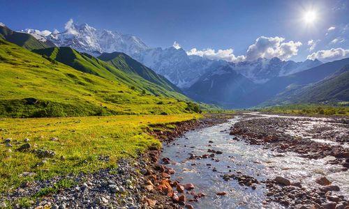 Alpine meadows, Tetnuldi glacier