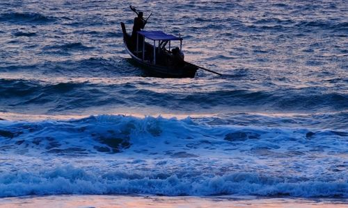 Boat in Burma at sunset