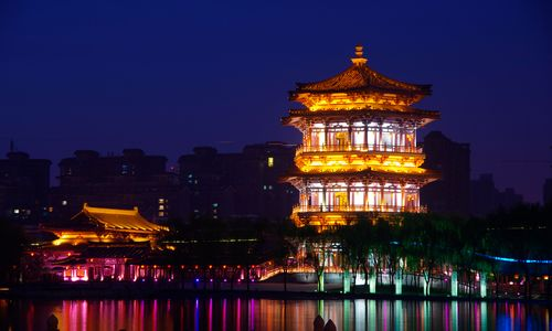 Xi'an Temple Reflections in the Water at Night
