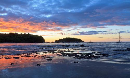 Sunset over beach in Papagayo Peninsula