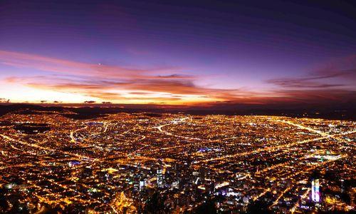 Aerial Bogota by night