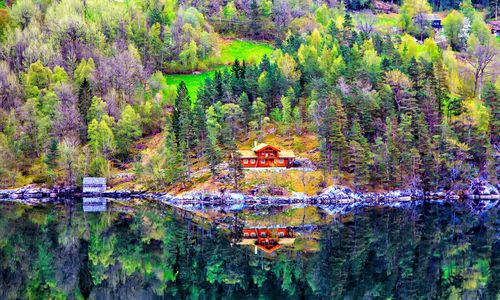 Reflection of a House at Geirangerfjord
