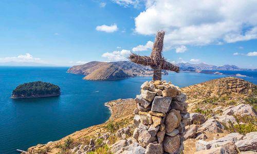 Cross by Lake Titicaca