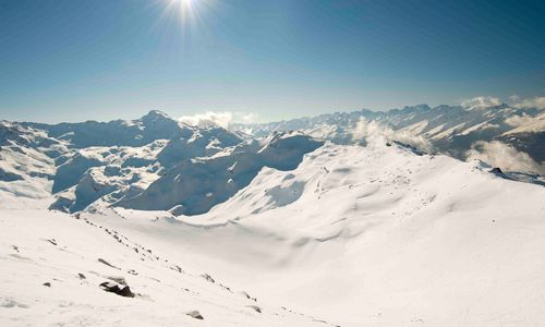 Bright sun in the mountains
