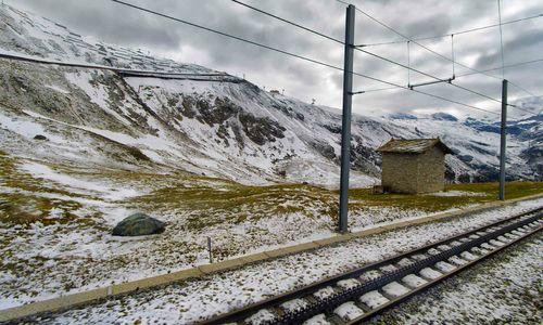 Cog railway track in the Swiss Alps