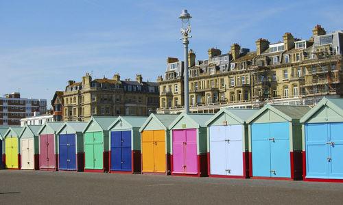 Colourful beach huts in Brighton