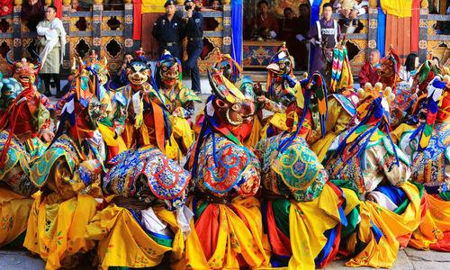 Brightly coloured costumes at Paro Festival