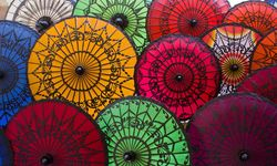 Myanmar colourful umbrellas
