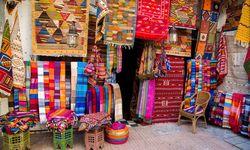 Colourful fabrics in Morocco