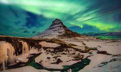 Northern lights over a glacier in Iceland