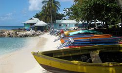 Colourful fishing boats Caribbean