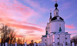 Church at sunset in Russia