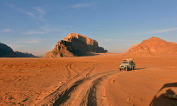 Jeep in Jordan desert