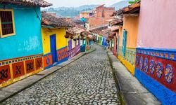 Colourful cobblestone street