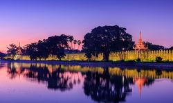Mandalay Royal Palace at sunset