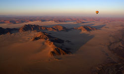 Hot air balloon over Namib Desert