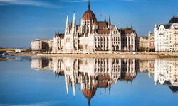Famous parliament with Danube River in Budapest