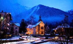 Church by night in Chamonix