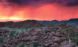 Pink sunset skies in Damaraland