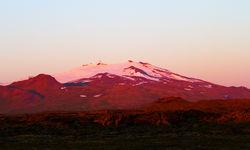 Snaefellsjokull volcano at sunset