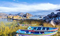 Boats by Lake Titicaca