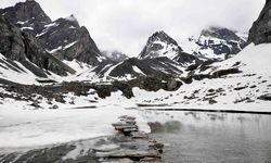 Icy waters in mountains
