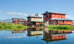 Inle Lake houses reflection