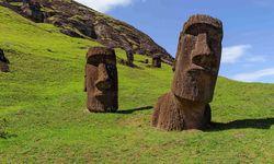 Two Moai Heads Sunken in the Grass