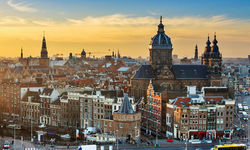 Winter city view of Amsterdam