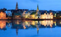 River reflection of Reyjavik city