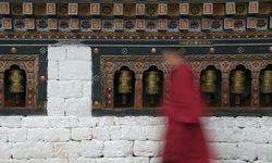 A monk walking through his temple