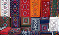Colourful embroidered tapestries
