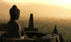 Sunrise over Borobudur temple