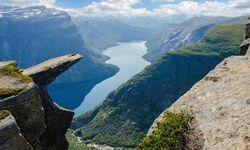 Fjord craggy outcrop