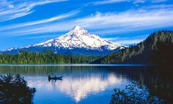Kayaking in front of Mount Hood