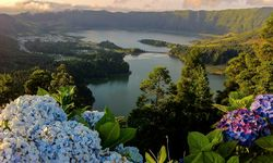 Sete Cidades Lake in The Azores with bright flowers